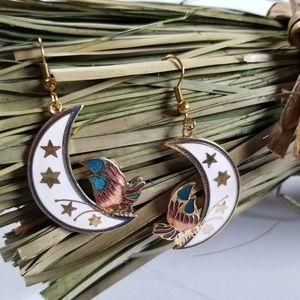 Vintage Cloisonne Earrings Celestial Butterfly
